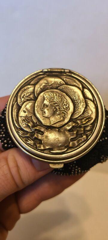 Antique Victorian Silver Roman Greek Coin Black Crochet & Bead Purse  RIPPED