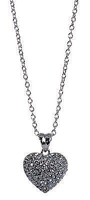 Swarovski Puffed Heart Pendant - Swarovski Elements Crystal Puffed Heart Pendant Necklace Rhodium Authentic 7120y