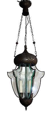 Jugendstil Laterne  Deckenlampe um 1900 Hängelampe Glas 4,9 kilo