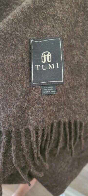 "Vintage Tumi Peru Alpaca Wool  Brown heather Throw Blanket Fringe 70 x 56"" WARM"