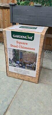 Garden Steel Outdoor Chimenea  ✅ Chiminea Patio Heater Fire Pit Black Square 🔥.