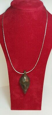 African Tribal Benin carved wood Head Art Pendant with silver chain nice quality