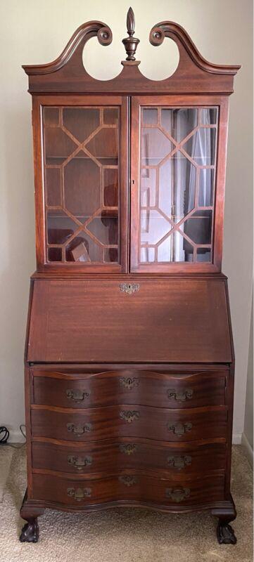 Vtg Maddox Secretary Desk Chippendale Bookcase Mahogany Wood Ball & Claw Feet