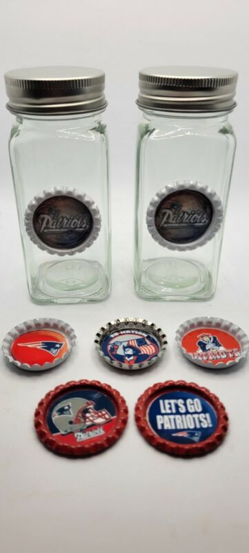 New England Patriots Salt And Pepper shakers Amd Bottle Cap Magnet Set Nfl gift
