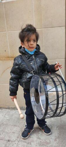 POOKID: KID SIZE  PLEXIE GLASS DRUM  DAVUL with STICK