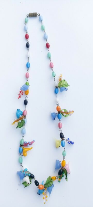 vintage art deco multi coloured glass birds and leaves necklace