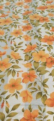 "Vintage 50s barkcloth orange FLORAL grey cream stripe CURTAINS pair W44"" D47"""