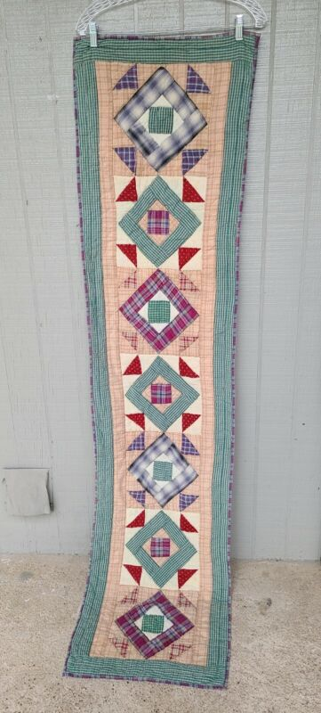 Vintage Handmade Traditional Quilt Runner 69x16.5 in Long Rectangle Topstitching