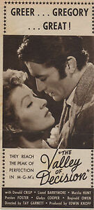 Original magazine advert(1945) Gregory Peck Greer Garson THE VALLEY OF DECISON
