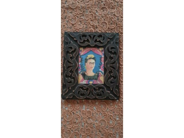 Frida Kahlo Art Print Carved Wood Glass Hanging Frame.