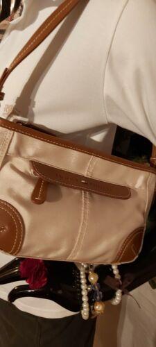 Tommy Hilfiger Tasche Handtasche klein Henkeltasche Stoff/Leder Beige/Braun wNEU