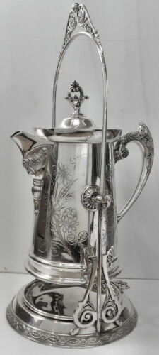 EXQUISITE! Atq Slv Plated ORNATE TILT WATER PITCHER STAND w/CUP HOLDER DRIP PAN