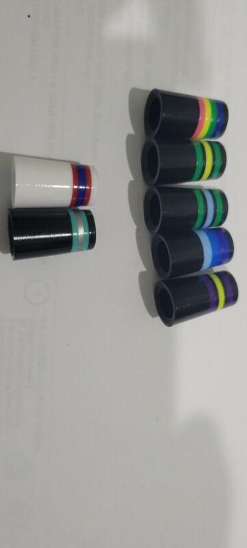 CUSTOM BLACK OR WHITE W/ 3 & 4 COLOR RINGS IRON FERRULES .355 10 PACK