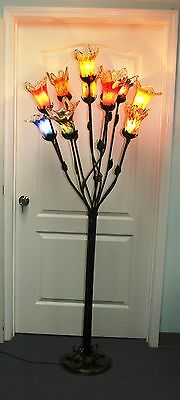Multi Color Glass Floor Lamp (HAND MADE WROUGHT IRON FLOOR LAMP & 11  MULTI-COLOR GLASS SHADES )