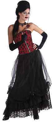 Midnight Black Gathering Costume Skirt with Attached Crinoline Gothic Women New