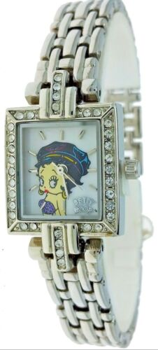 New Old Stock Betty Boop Rectangular /Square White Rhinestone Watch Origial Box
