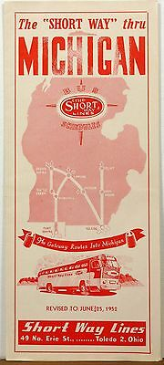 1952 Michigan Short Way Lines Bus timetable brochure map Great Illustrations