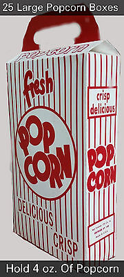 25 Popcorn Snack Box Large  Pop Corn Tubs Containers Home Theater Snacks