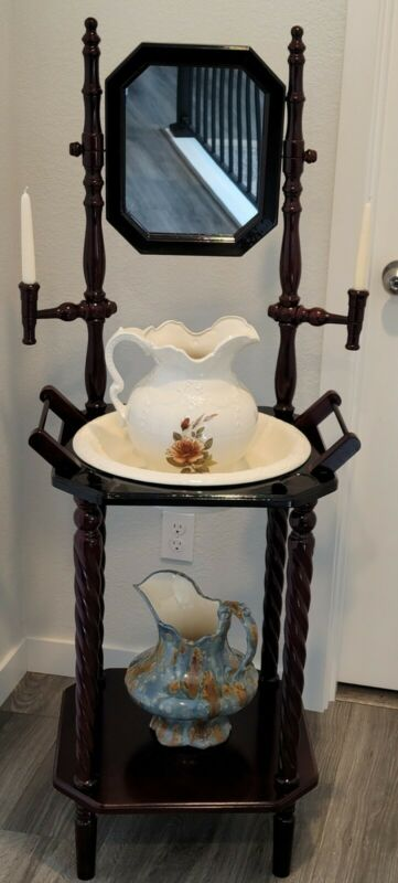 VTG Wooden Wash Basin Stand w/Pitcher