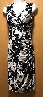 RALPH LAUREN Black White Floral V-Neck Ruched Faux Wrap Sheath Dress Women's 2