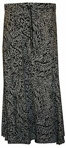 Womens Ladies Plus Size Printed Stretch Flared Maxi Elasticated Skirt 14 TO 28