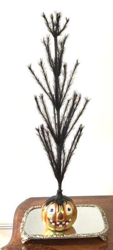 "Christopher Radko Halloween Jack-O-Lantern Black Feather Branches Tree 35""H Nice"
