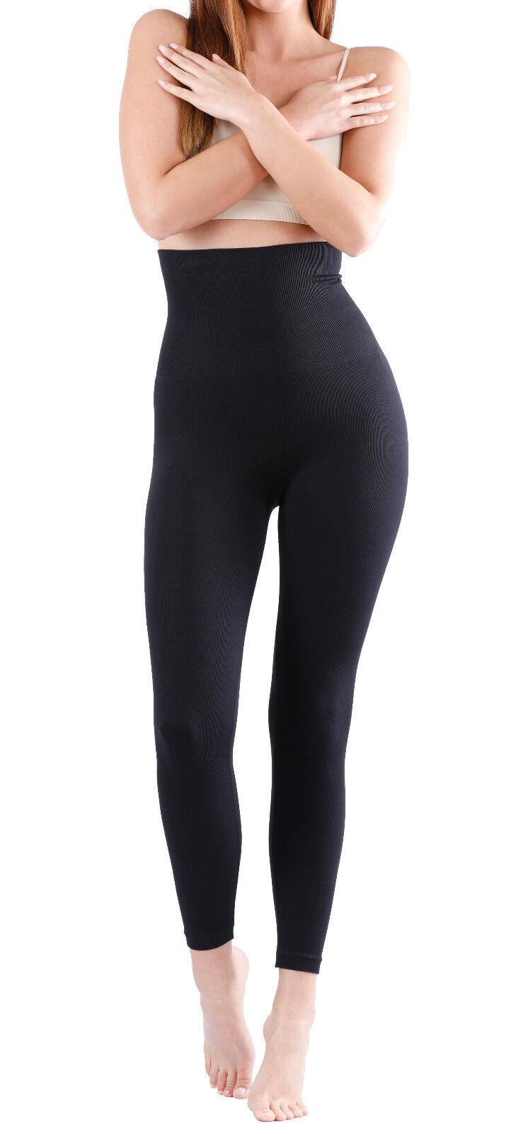 Damen Slim Leggings Shapewear-Form Leggings Bauch Weg-Damen Hose Schwarz