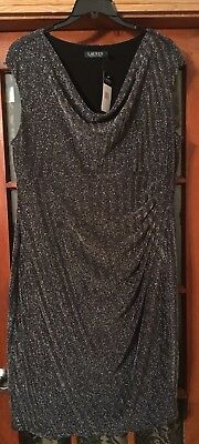 Metallic Cowl Neck (RALPH LAUREN BLACK/ SILVER METALLIC COWL NECK/RUCHED SIDE COCKTAIL DRESS, sz 18W)