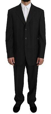 Z ZEGNA Suit COMFORT Two Piece 3 Button Wool Black Striped EU52/US42/L RRP $1700