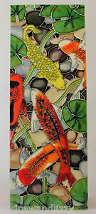 Fish Pond Lilies Benaya Art Tiles Contemporary Wall Picture Tile Plaque 6x16