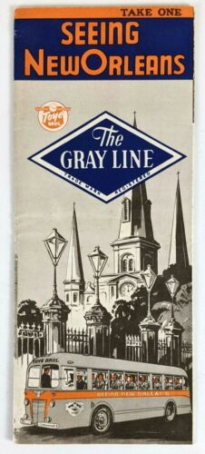 1940s Gray Line Sightseeing New Orleans Brochure Flyer Motor Tours Bus Tourist