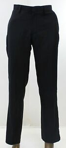 KENNETH COLE NEW Black Dress Pants Mens Size 32x30 Flat Front Formal Thin $59