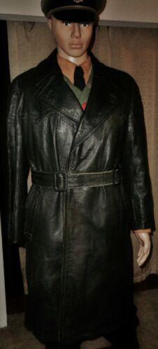 Original WW2 German ELITE Officer Black Leather Overcoat Uniform Tunic Shirt pin