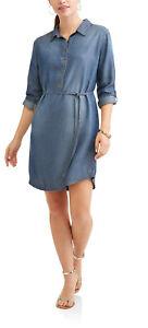 NEW Womens Time and Tru Blue Chambray Lyocell Shirt Dress XL  16-18