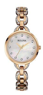 Bulova Women's 98L207 Quartz Crystal Accents Rose Gold Two-Tone 21mm Dress Watch
