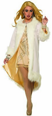 Hollywood White Faux Fur Coat with Shiny Gold Lining Costume Marilyn Monroe Diva](Halloween Costumes With Fur Coats)