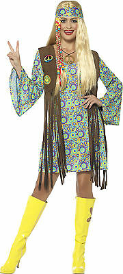 tacy Damenkostüm NEU - Damen Karneval Fasching Verkleidung K (Hippie Groovy)