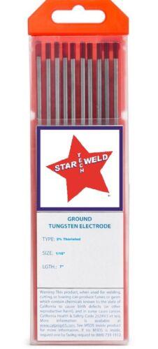 "TIG WELDING TUNGSTEN ELECTRODE 2% Thoriated 1/16"" (RED) PKG/10 NEW TH16-7"