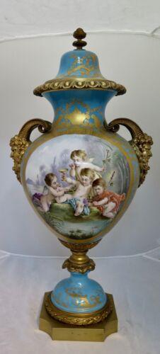 Vintage Late 19th Century Sevres Gilt Bronze Covered Urn