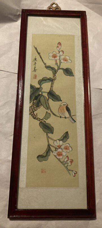 Vintage~Asian~Chinese Painting on Silk~*Sparrow On Cherry Blossoms*~Framed