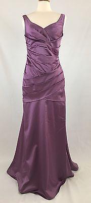 Davids Bridal Violet Stretch Satin Occation Bridesmaid Formal Dress Sz 10