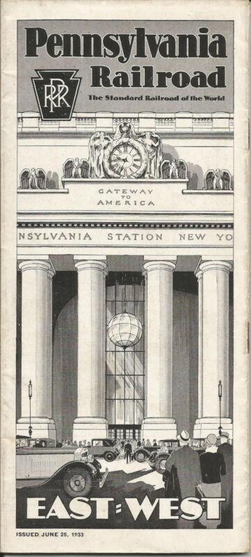 Vintage 1933 Pennsylvania Railroad Public Timetable