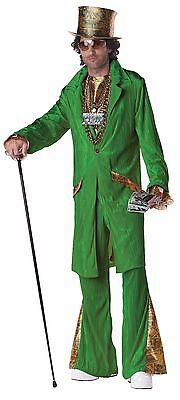 Pimp Costume Men's Green 6 Pc Pants Coat Hat Jabot Money Medallion Hustla Lg