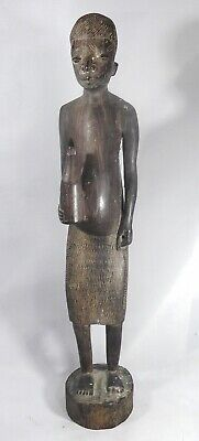 African Tribal Art Woman with bottle. Tall, Old and Imposing. Possibly Makonde.