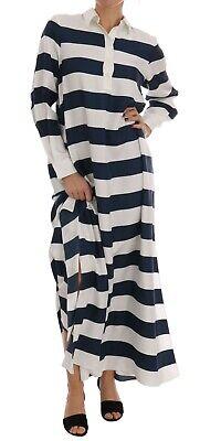 NEW $2400 DOLCE & GABBANA Dress Cape Blue White Silk Kaftan Shirt IT36 / US2 / S
