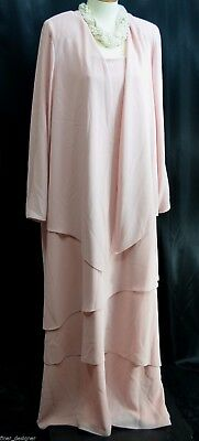 Jeffrey & Dara draping formal gown Mothers Dress tiered MOB jacket blush 24 NEW