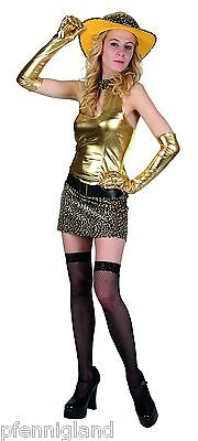 Damen Kostüm Goldener Tiger Kleid, Hut, Gürtel  Größe M Karneval 2018 Fasching (Gold Kostüm Gürtel)