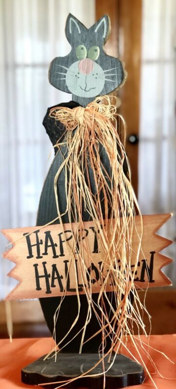 """23"""" Tall Wood Wooden Black Cat HAPPY HALLOWEEN Sign Plaque Table Top Decoration"""