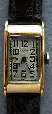 Rare Vintage 1930 Waltham Wandering Second Watch 14K Gold Filled Tank Style 15J