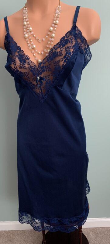 Vtg Sliperfection Midnight Blue Tricot 40 42 Nylon Full Slip Nightgown